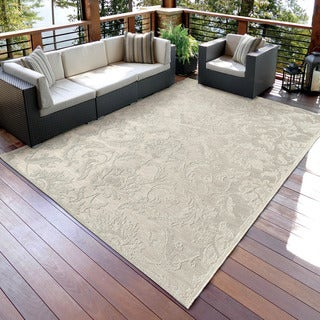 Carolina Weavers Seaside Collection Dimensions of Floral Ivory Rug (5'1 x 7'6)