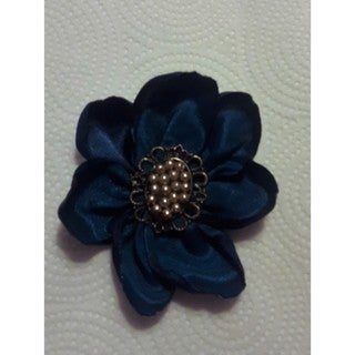 Ladies Midnight Blue Fabric Brooch