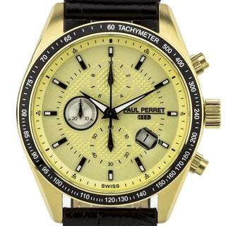 Paul Perret Esperto Men's Chronograph Watch w/ Textured Leather Strap