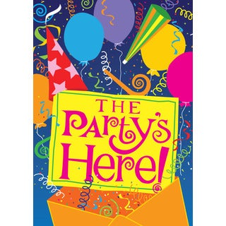 The Party's Here Multicolor Synthetic Fiber Outdoor Flag