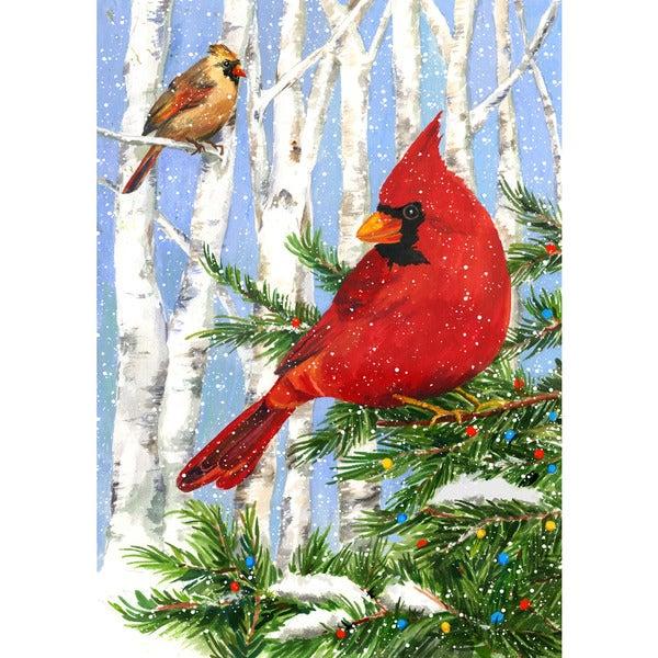 Cardinal Birches Multicolor Synthetic Fiber Garden Flag