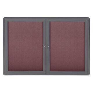 Ghent Grey/Merlot Fabric/Aluminum 2-door Ovation Bulletin Board
