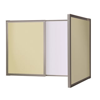 VisuALL PC Beige Fabric Bulletin Board and Nonmagnetic Whiteboard Combo
