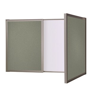 Ghent VisuALL PC Grey Fabric Bulletin Board Outside with Non-magnetic Whiteboard Inside