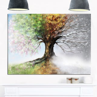 Tree with Four Seasons - Tree Painting Glossy Metal Wall Art (As Is Item)
