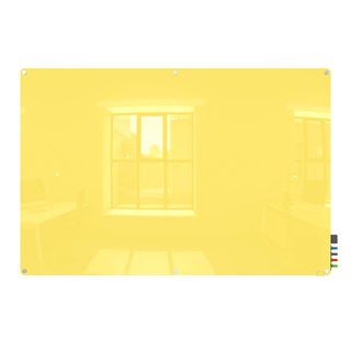 Ghent Harmony Radius Corners Yellow Glass 4' x 8' Magnetic Board With 4 Rare Earth Magnets, 4 Markers and Eraser