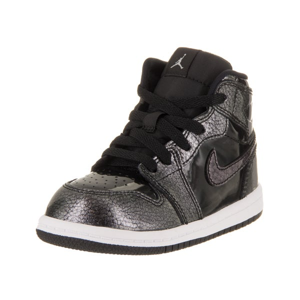 on sale 32714 6bba3 Nike Jordan Toddlers Air Jordan 1 Retro Black Synthetic Leather High-top  Basketball Shoes