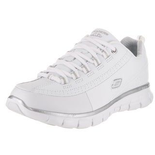 Skechers Women's Synergy-Elite Status White Synthetic Leather Casual Shoe