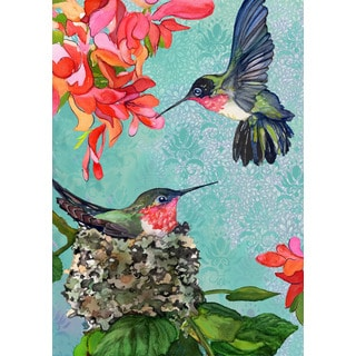 Hummingbirds Multicolored Synthetic Fiber Flag
