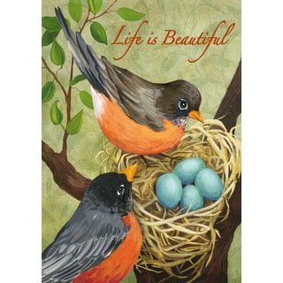 Robins' Nest Multicolor Synthetic Fiber Inspirational Garden Flag