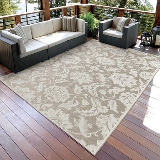 Carolina Weavers Seaside Collection Dimensions of Floral Beige Rug (7'7 x 10'10)