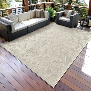 Carolina Weavers Seaside Collection Dimensions of Floral Ivory Rug (7'7 x 10'10)