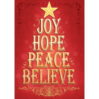 Inspirational Red Gold Synthetic Word Tree Christmas Flag