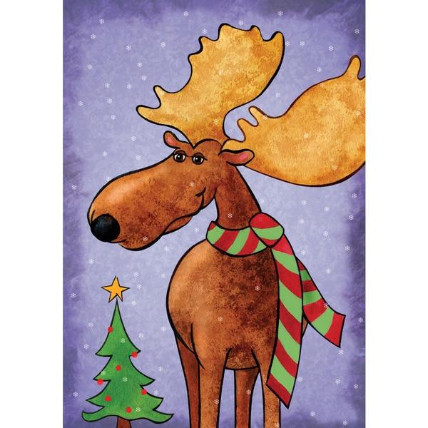 Shop Christmas Moose Multicolor Synthetic Fiber Wall Art