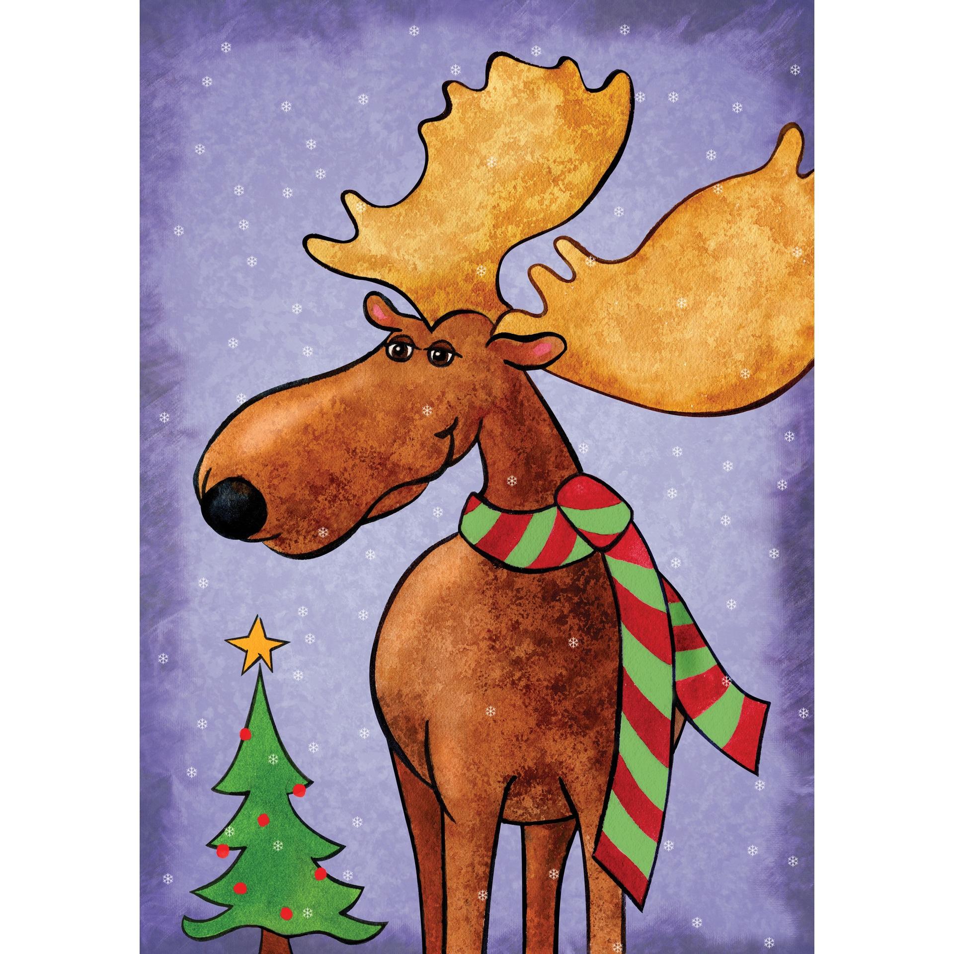 Christmas Moose Multicolor Synthetic Fiber Wall Art (12 x...