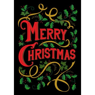 'Merry Christmas' Multicolored Synthetic Fiber Holiday Flag
