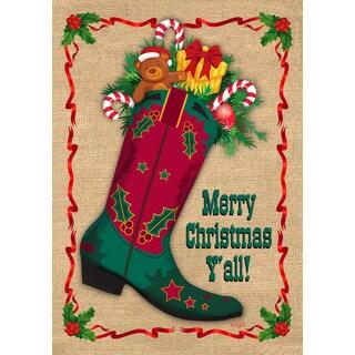 'Merry Christmas Ya'll Boot' Garden Flag