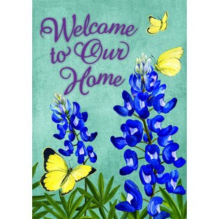 Yellow Butterflies Multicolored Synthetic Fiber Flag