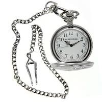 Rousseau Engraved Eagle Classic Silver-tone Antique Style Pocket Watch and Chain