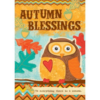 Autumn Blessings Owl Multicolored Synthetic Fiber Flag