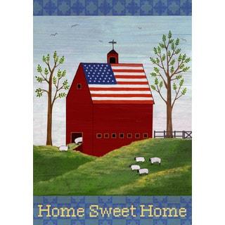 Patriotic Barn Multicolored Synthetic Fiber Flag