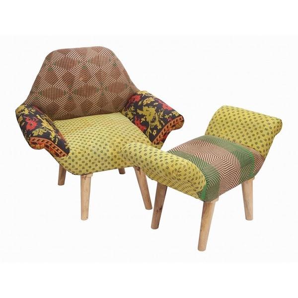 Merveilleux Kantha Chair And Ottoman Set