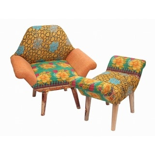 Kantha Chair and Ottoman Set