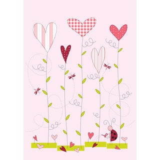 Love Grows Pink and Green Synthetic Fiber Flag