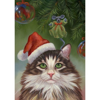 Believe Christmas Cat Multicolored Synthetic Fiber Flag
