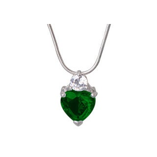 Womens Green Gemstone Heart CZ Pendant in White Hue