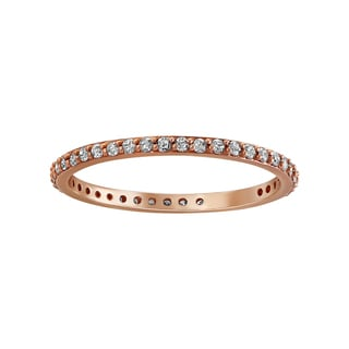 14K Rose Gold 1/3ct. Diamond Eternity Band Ring By Beverly Hills Charm - White H-I