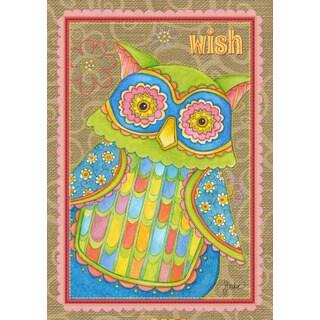 Wish Owl Multicolor Synthetic Fiber Inspriational Garden Flag