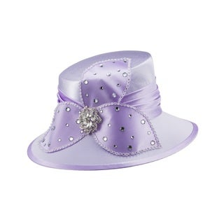 Giovanna Signature Women's Purple Rhinestone-embellished Satin Hat