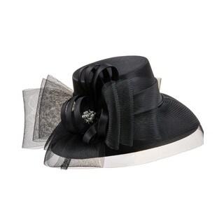 Giovanna Signature Women's Black Satin/Mesh Hat