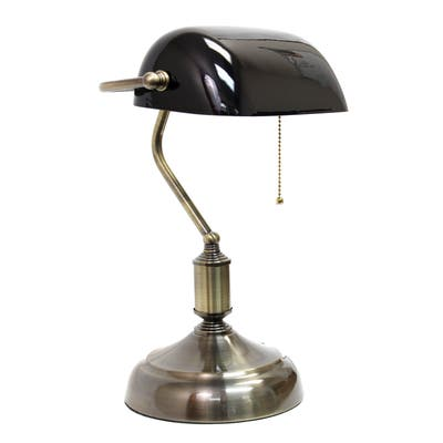 Simple Designs Executive Banker's Desk Lamp Green Glass Shade