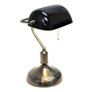Simple Designs Executive Banker's Metal Desk Lamp with Green Glass Shade