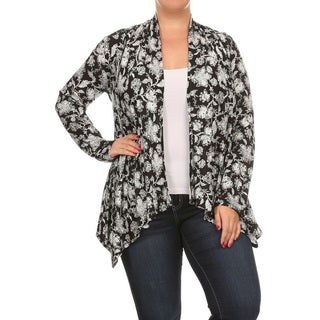 Women's Plus Size Abstract Loose Cardigan
