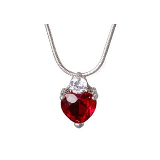 Womens Red Gemstone Heart CZ Pendant in White Hue