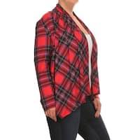 Women's Plus Size Red Plaid Cardigan