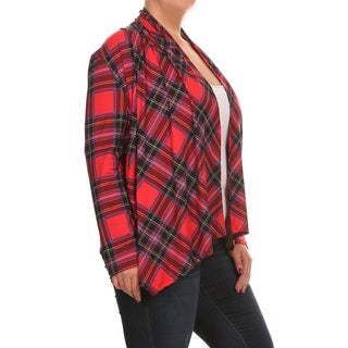 Women's Plus Size Red Plaid Cardigan