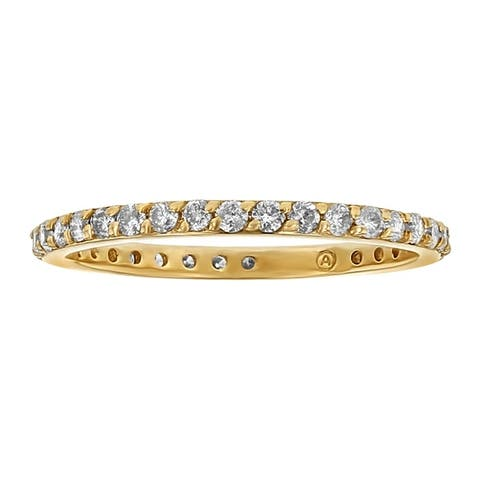 10k Yellow Gold 1/2ct TDW Diamond Eternity Band Ring by Beverly Hills Charm