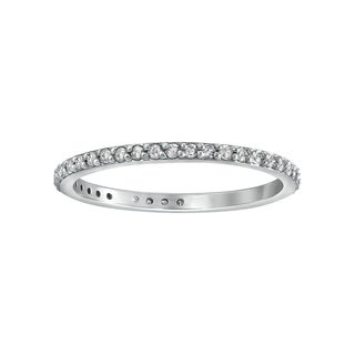 14K White Gold 1/3ct. Diamond Eternity Band Ring By Beverly Hills Charm - White H-I