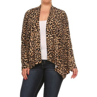 Women's Plus Size Cheetah Pattern Cardigan