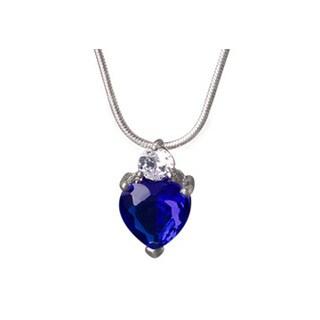 Womens Blue Gemstone Heart CZ Pendant in White Hue