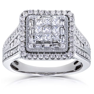Annello by Kobelli 10k White Gold 1ct TDW Diamond Square Frame Invisible-set Princess Engagement Ring (HI, I2)