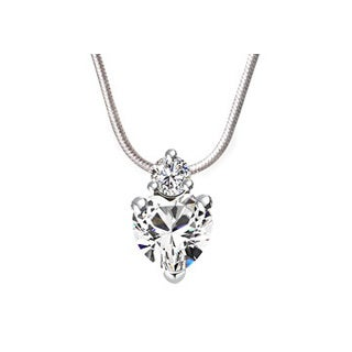Womens Cubic Zirconia Heart Pendant in White Hue