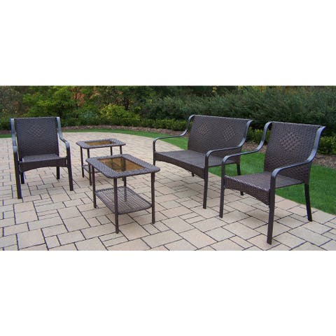 Sedona Resin Wicker Seating Set with 1 Loveseat, 2 Chairs, 1 Side Table and 1 Coffee table in Coffee Finish