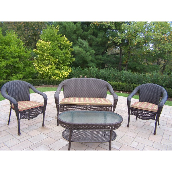 Merit Resin Wicker Green Striped Cushioned Loveseat And 2 Stackable Chairs  With Oval Coffee Table In