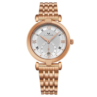 Alexander Women's Swiss Made Olympias Rose Tone Stainless Steel Link Bracelet Watch