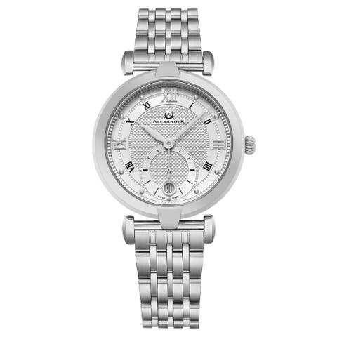 Alexander Women's Swiss Made Olympias Stainless Steel Link Bracelet Watch